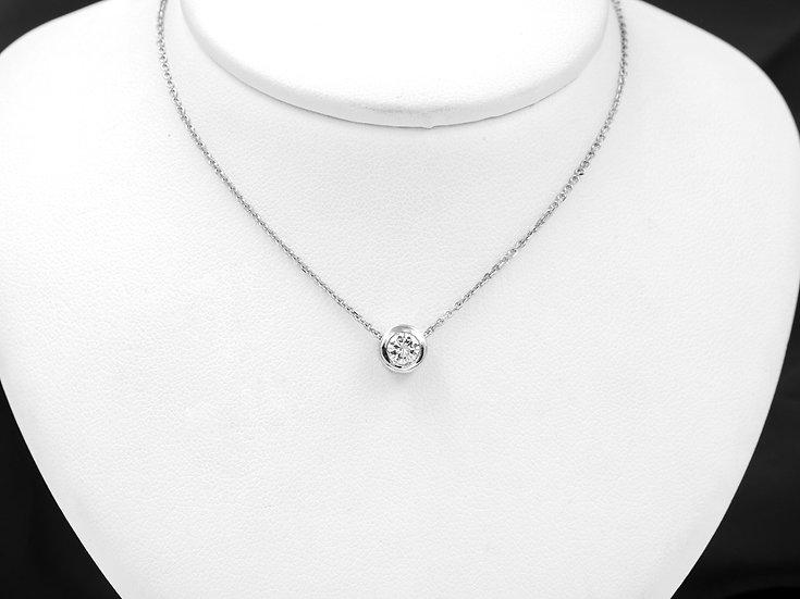 14K White Gold .22ct Round Diamond Pendant
