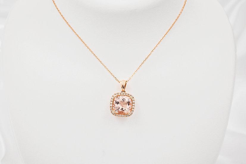 14K Rose Gold Cushion Cut Morganite Diamond