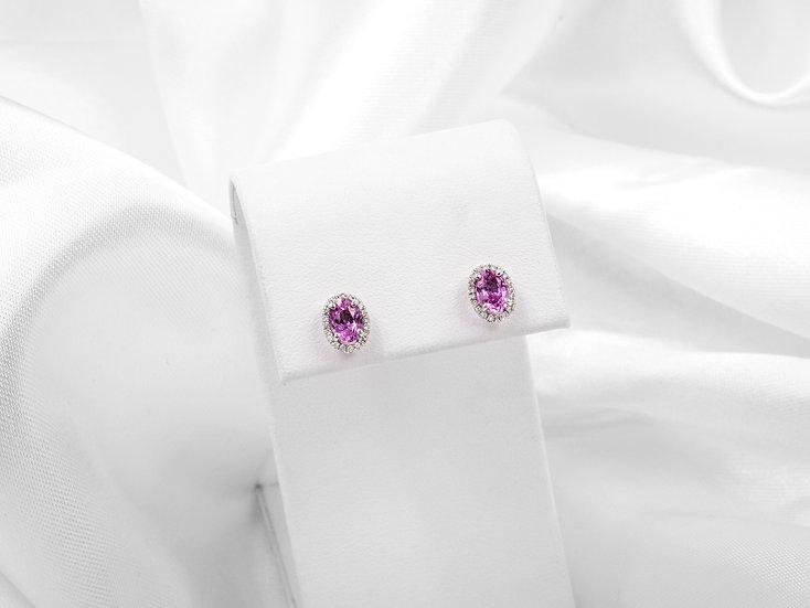 18K White Gold Oval Sapphire Earrings