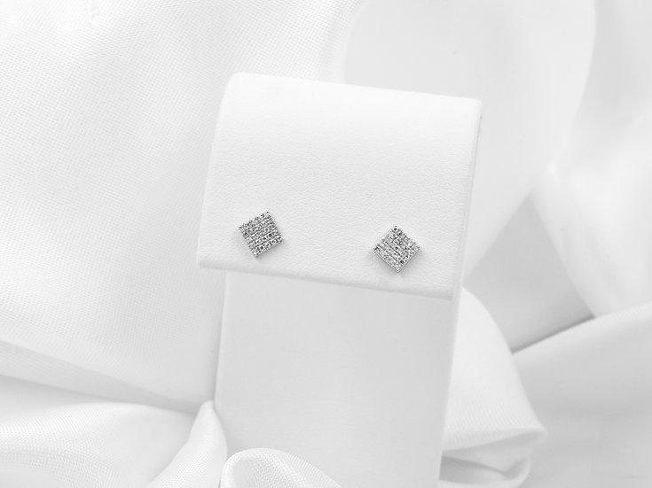 14K White Gold .11cttw Diamond Square Earrings