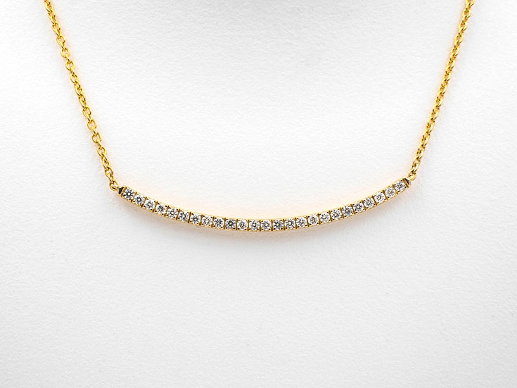 14K Yellow Gold .24cttw Bar Necklace