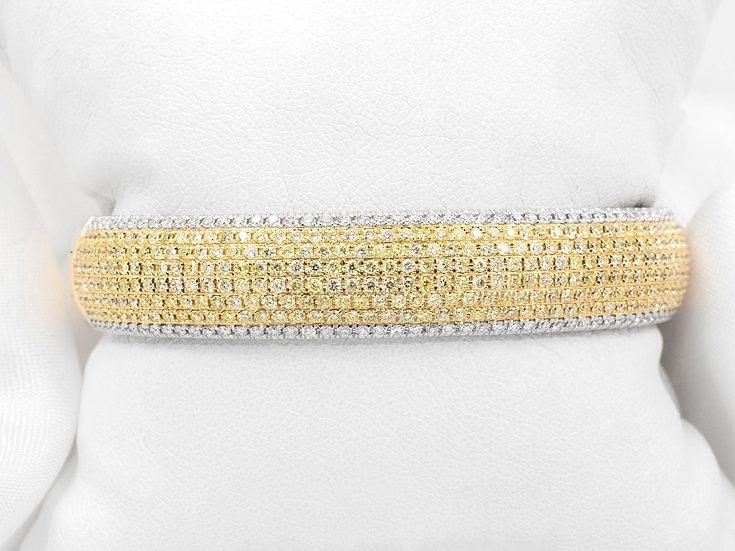 18K Yellow and White Gold 5.08cttw Diamond Bangle Bracelet