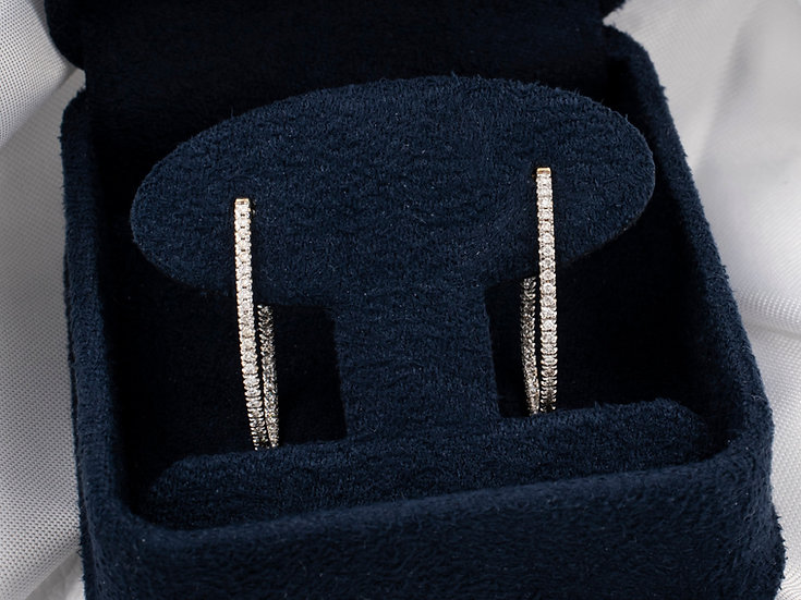 14K Yellow Gold In and Out Diamond Hoop Earrings