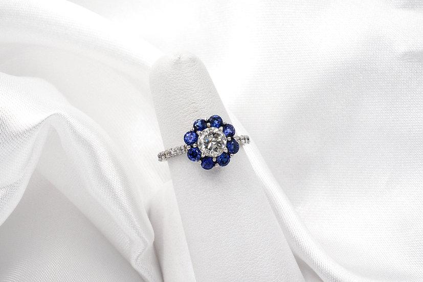 14K White Gold Round Diamond Saphire Halo Ring