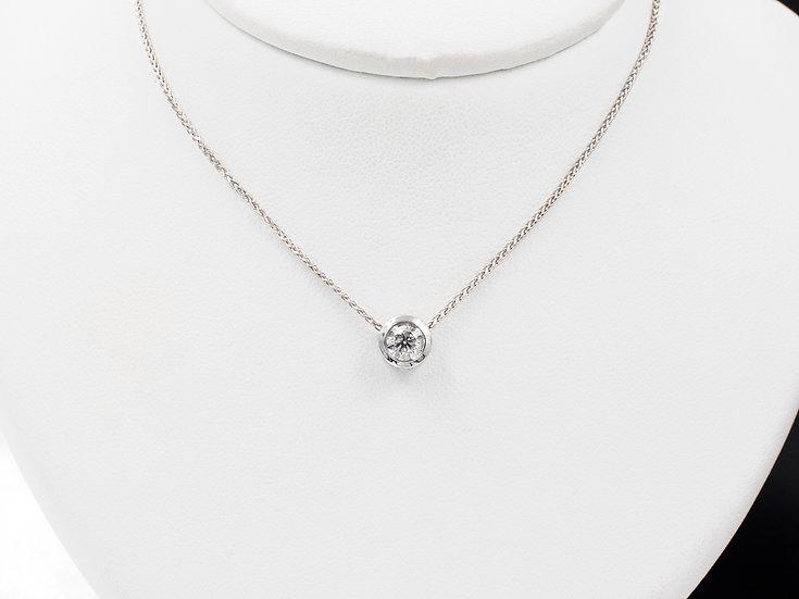 14K White Gold .31ct Roud Diamond Bezel Pendant