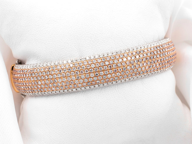18K White and Rose Gold 5.37cttw Diamond Bangle Bracelet