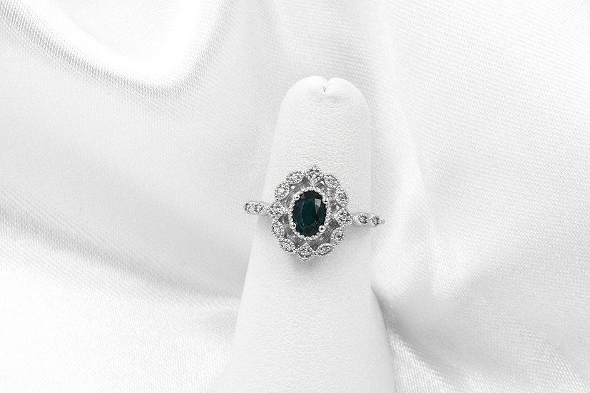 10K White gold Sapphire Diamond ring