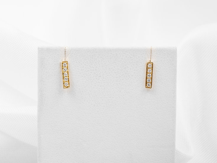 14K Yellow Gold .08cttw Diamond Bar Earrings