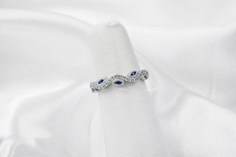 14K Sapphire and Diamond Wave Band