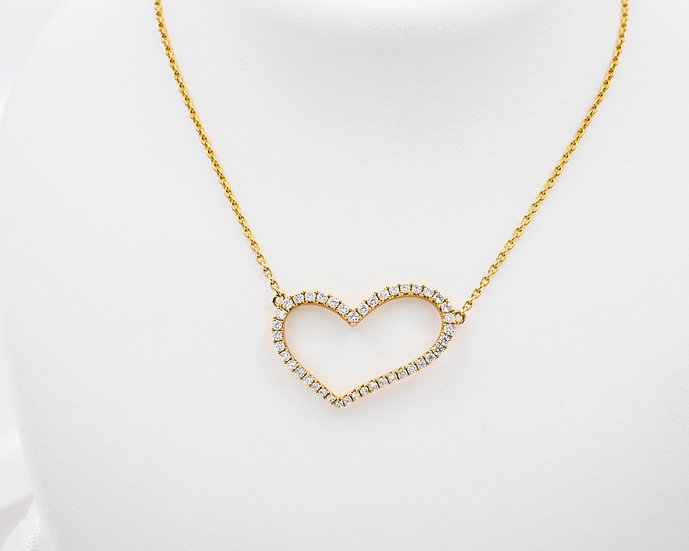 "14K Yellow Gold .30cttw Diamond Heart 17"" Pendant"