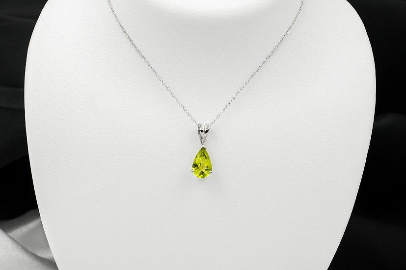 """14K White Gold 18"""" Pear Shaped Peridot Pendant"""