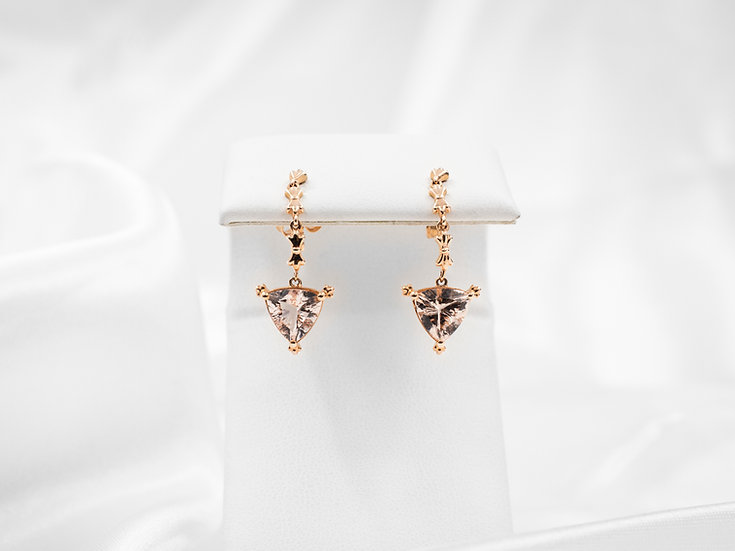 14K Trill Morganite Earrings