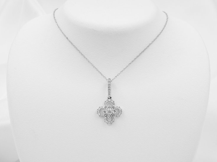 14K White Gold .36cttw Diamond Pendant