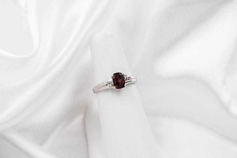 14K White Gold CB Garnet Ring