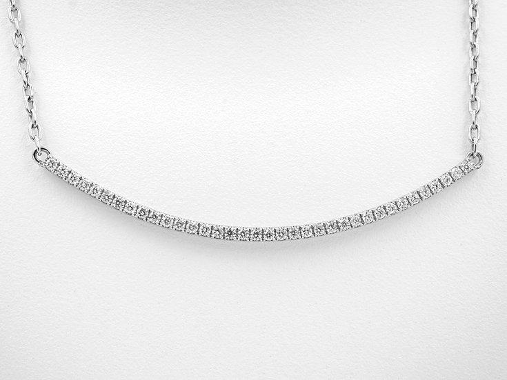 18K White Gold .42cttw Diamond Bar Necklace