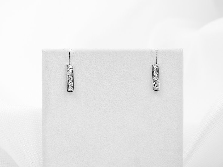 14K White Gold .08cttw Diamond Bar Earrings