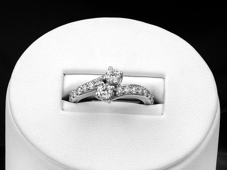 14K 1cttw Double Stone Engagement Ring