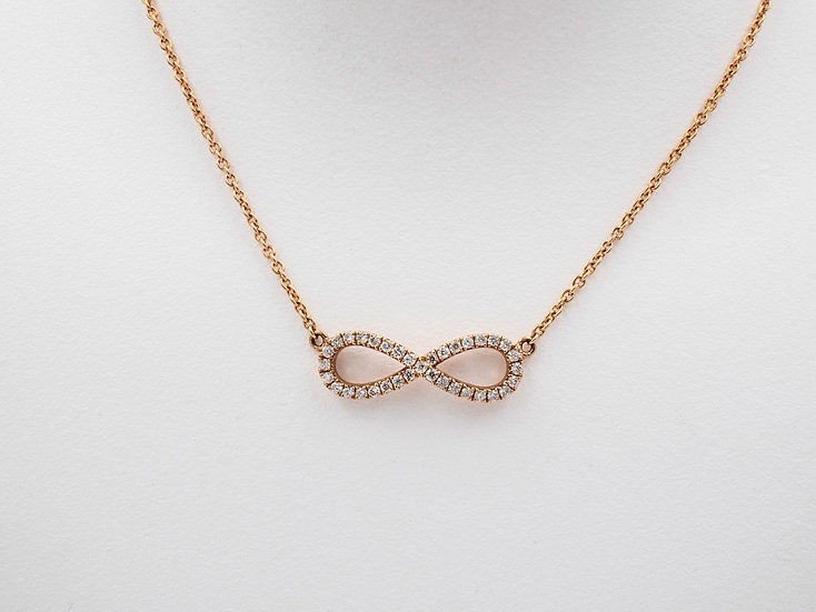 14K Rose Gold Diamind Infinity Necklace