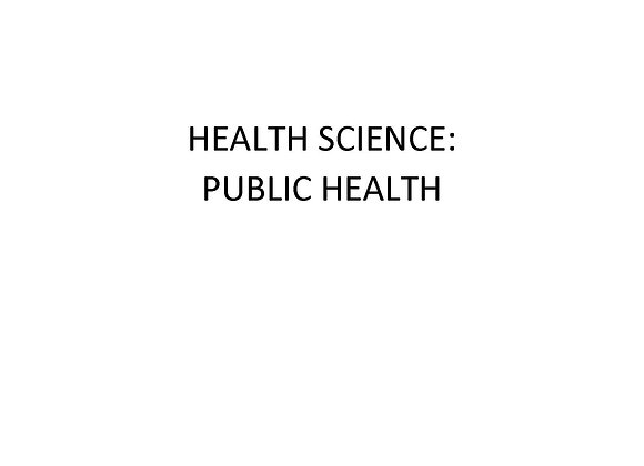 Summer School ED Health Science: Public Health