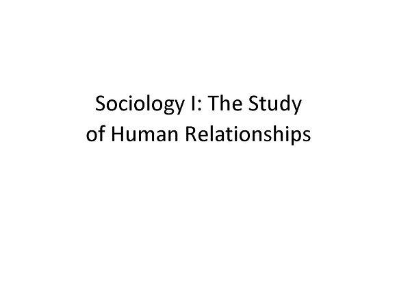Summer School Sociology I: The Study of Human Relationships