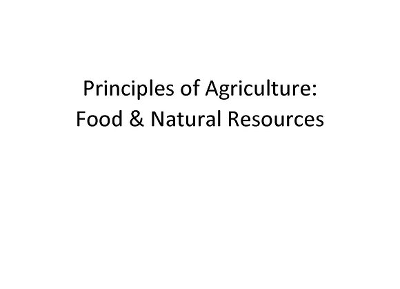 Principles of Agriculture, Food, & Natural Resources