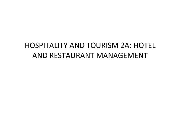 Summer School Hospitality and Tourism 2a: Hotel and Restaurant Management