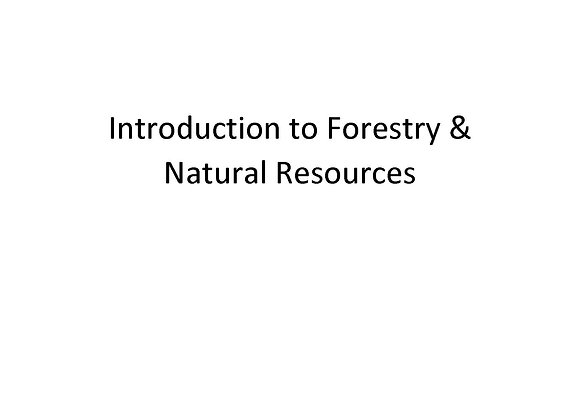 Introduction to Forestry & Natural Resources