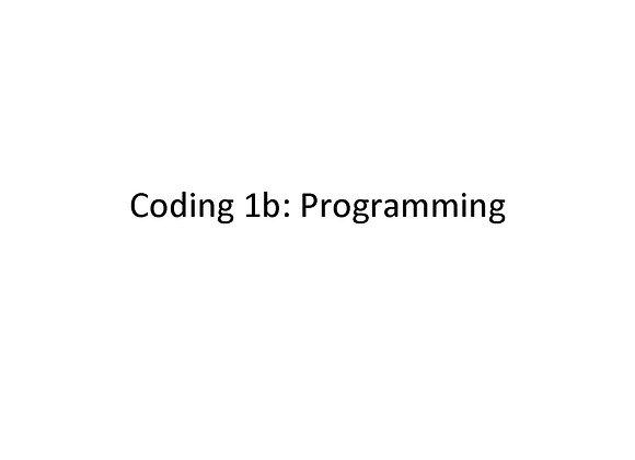 Summer School Coding 1b: Programming