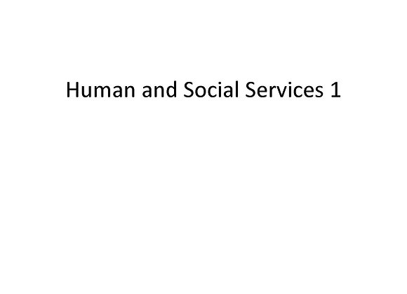 Human and Social Services I