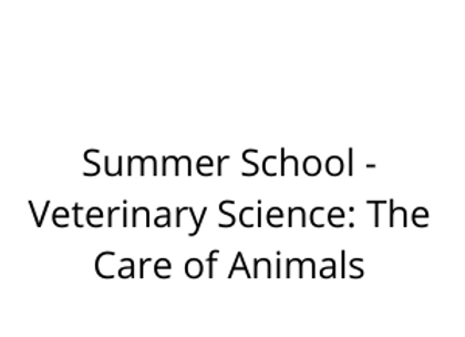 Summer School - Veterinary Science: The Care of Animals