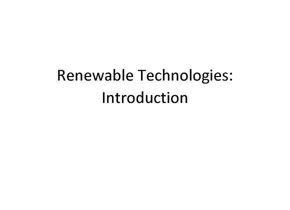 Renewable Technologies: Introduction