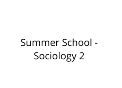 Summer School - Sociology 2
