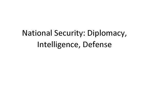 Summer School National Security: Diplomacy, Intelligence, Defense