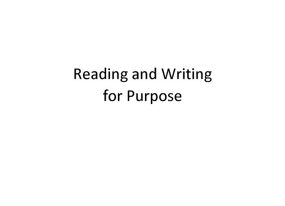 Summer School Reading and Writing for Purpose