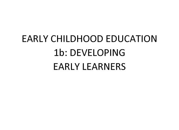 Summer School Early Childhood Education 1b:  Developing Early Learners