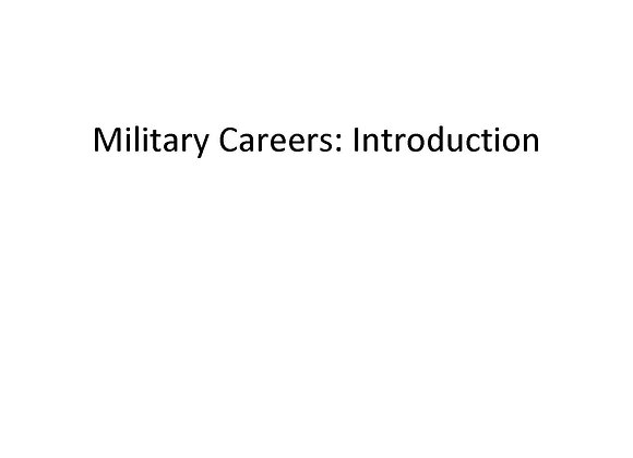 Summer School Military Careers: Introduction