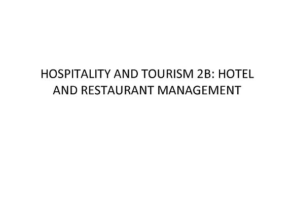 Summer School Hospitality and Tourism 2b: Hotel and Restaurant Management