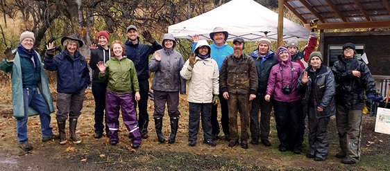 Soggy (but happy) restoration crew after planting 6000 native plants!
