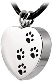stainless steel heart shaped pet paw print necklace southern oregon