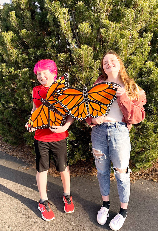 Eli and Lucy with their monarch conservation award!