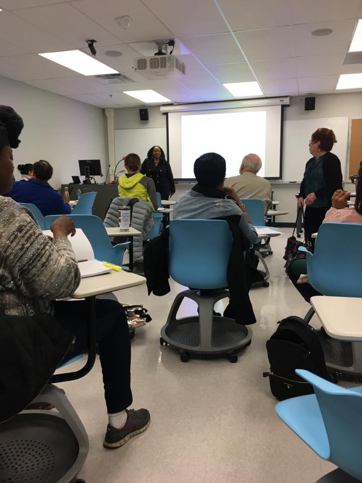 umkc class, blue round chairs