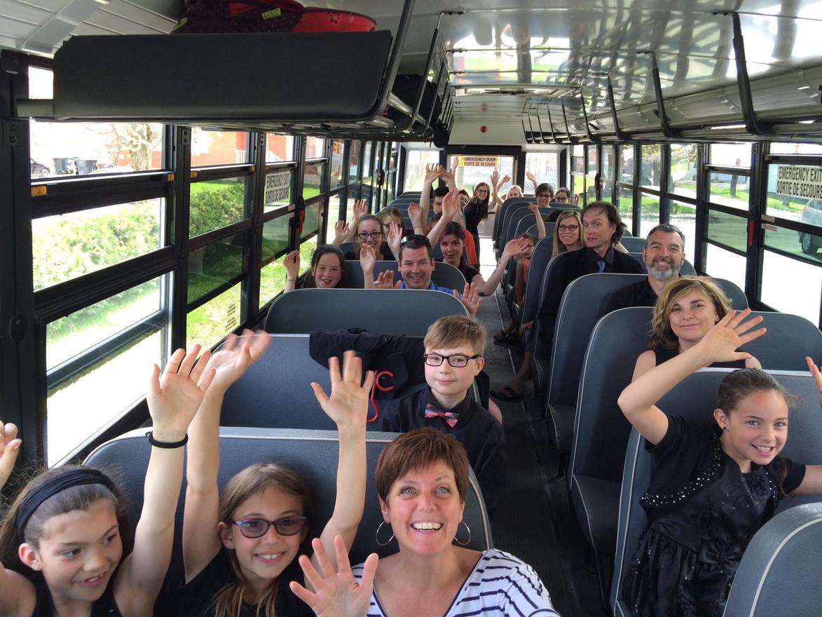 Party dans l'autobous avec l'Harmonie cadette en route vers Sherbrooke