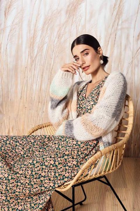 Midi- Kleid mit Blumendruck