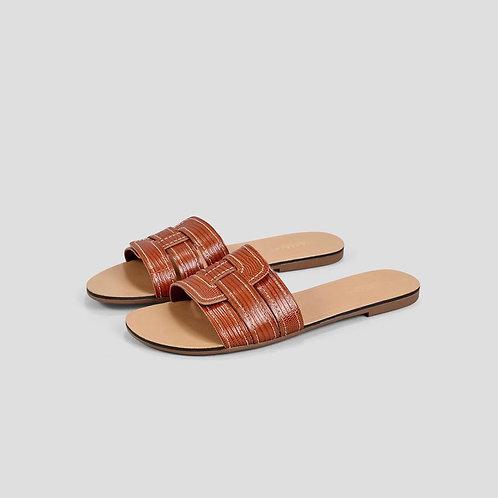 TIA Cognac Cow Leather Sandals