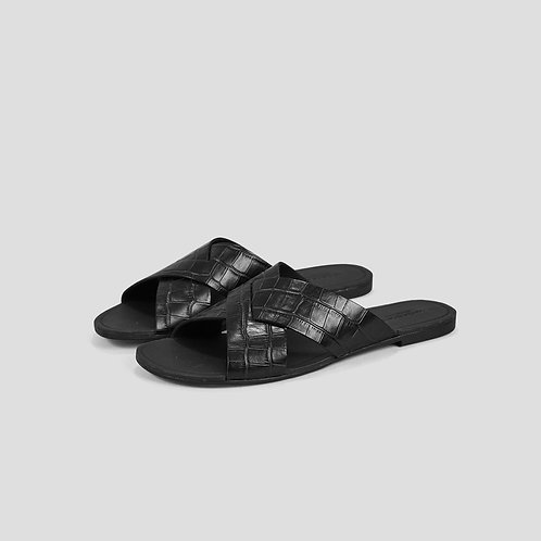 TIA Black Embossed Leather Sandals