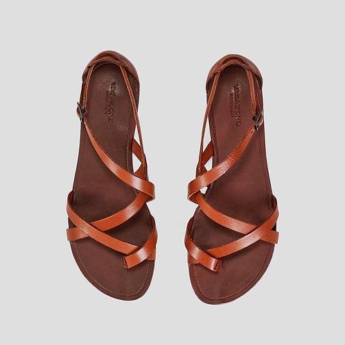 TIA Cognac Goat Leather Sandals