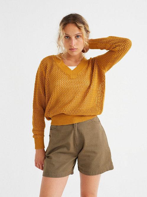 Mustard willow mesh sweater