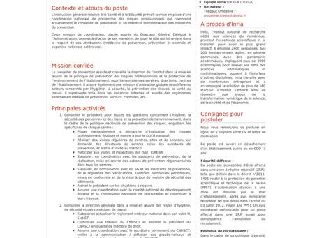 Poste de Conseiller de Prévention - Inria
