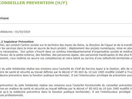 ADJOINT AU CONSEILLER PRÉVENTION, Le Département Haut-de-Seine