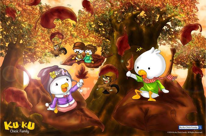 主題彩畫 - 秋天落葉